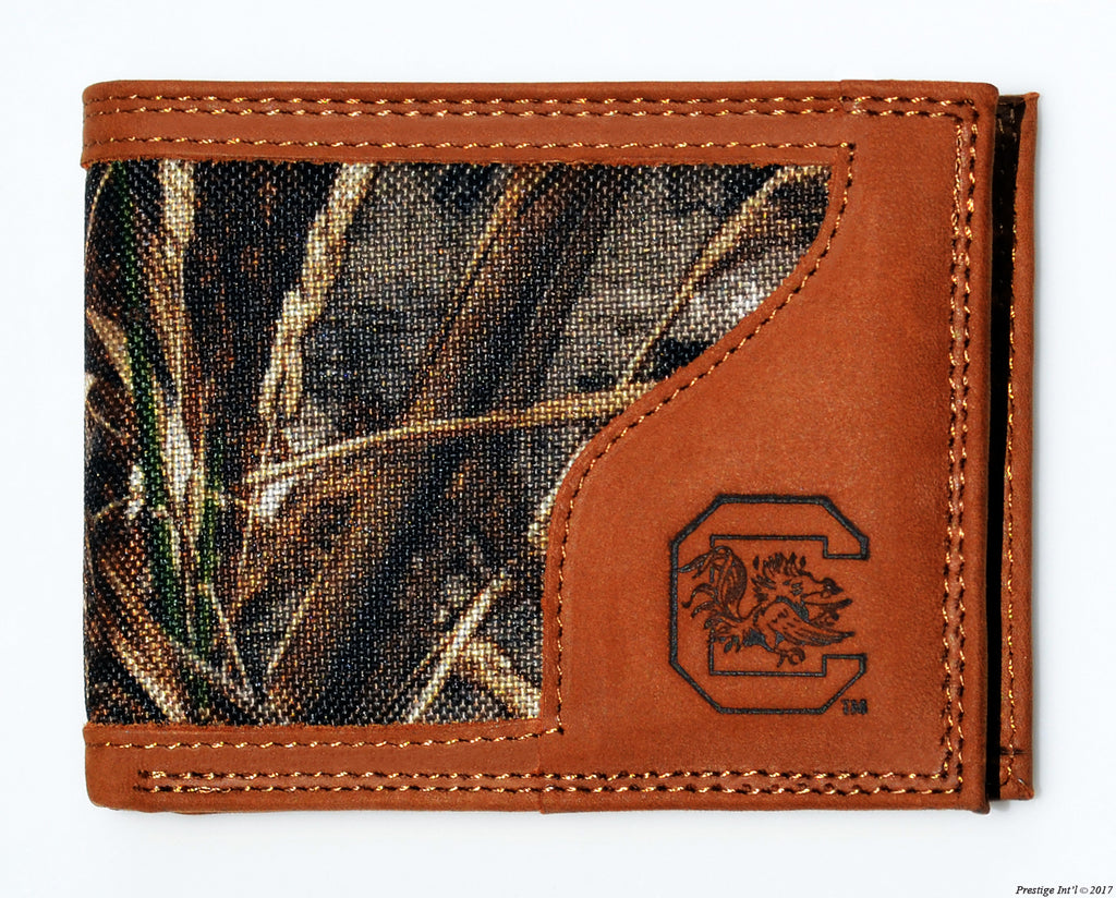 South Carolina Gamecocks Bifold Realtree Max-5 Camo & Leather Wallet - NCAA