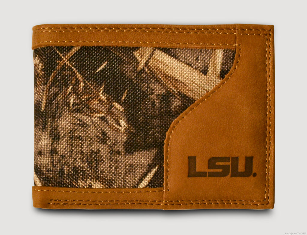 LSU Tigers Bifold Realtree Max-5 Camo & Leather Wallet - NCAA