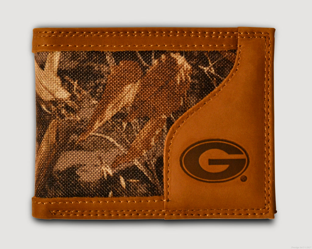 Georgia Bulldogs Bifold Realtree Max-5 Camo & Leather Wallet - NCAA