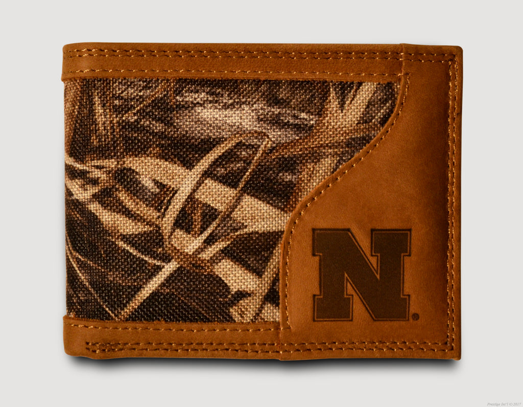 Nebraska Cornhuskers Bifold Realtree Max-5 Camo & Leather Wallet - NCAA