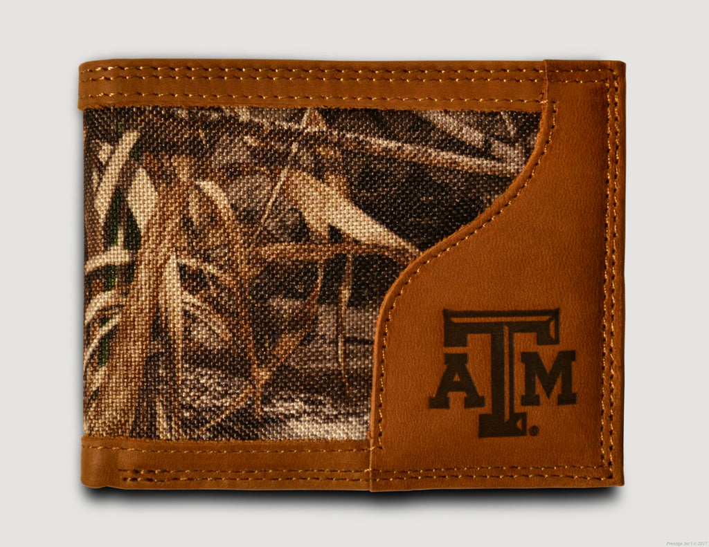 Texas A&M Aggies Bifold Realtree Max-5 Camo & Leather Wallet - NCAA