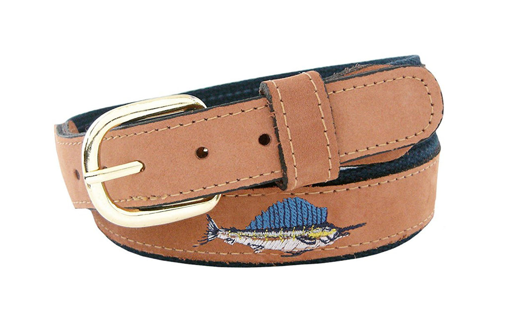 Zep-Pro Men's Embroidered Sailfish Leather Belt - Navy