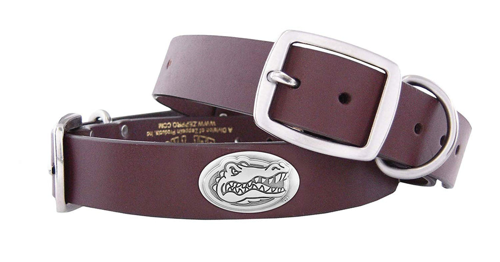 Florida Gators Brown Leather Concho Dog Collar - NCAA