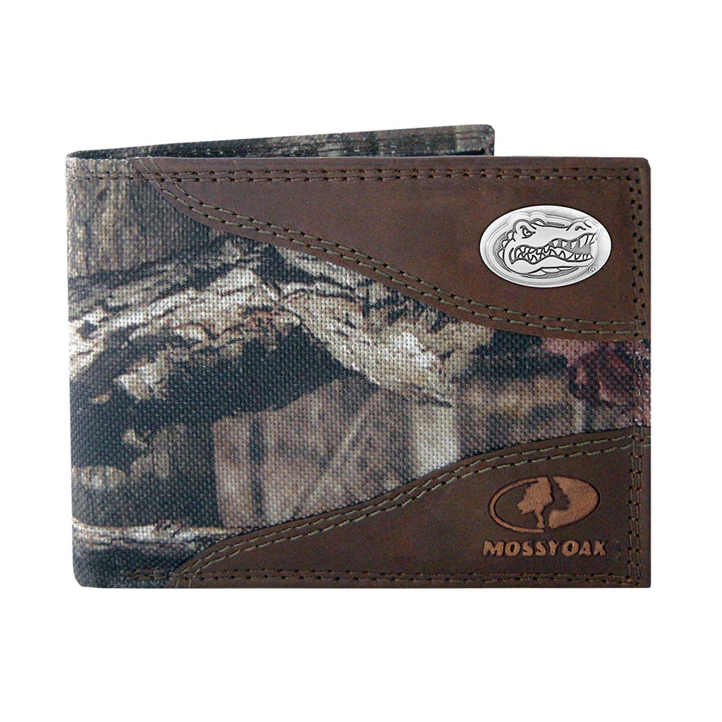 Florida Gators Zep-Pro Mossy Oak Nylon and Leather Bifold Concho Wallet - NCAA