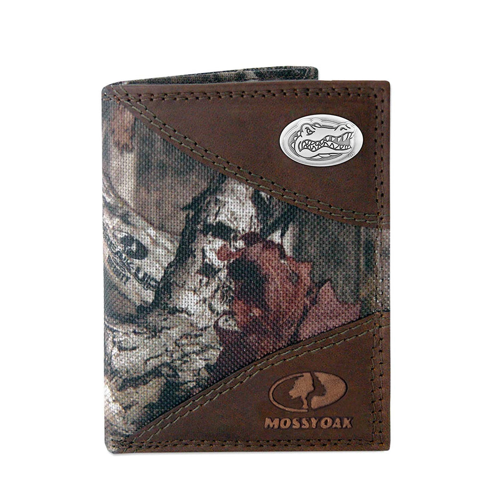 Florida Gators Zep-Pro Mossy Oak Nylon and Leather Trifold Concho Wallet - NCAA