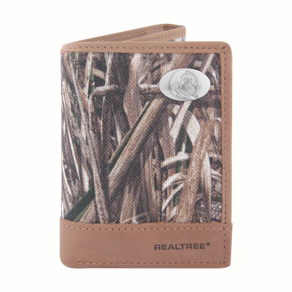 Florida State Seminoles Trifold Realtree Max-5 Camo & Leather Wallet - NCAA