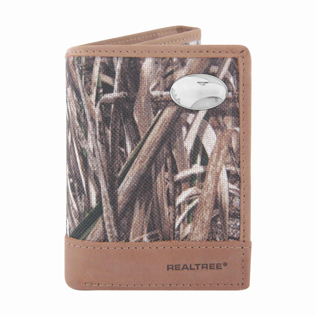 Georgia Southern Eagles Trifold Realtree Max-5 Camo & Leather Wallet - NCAA