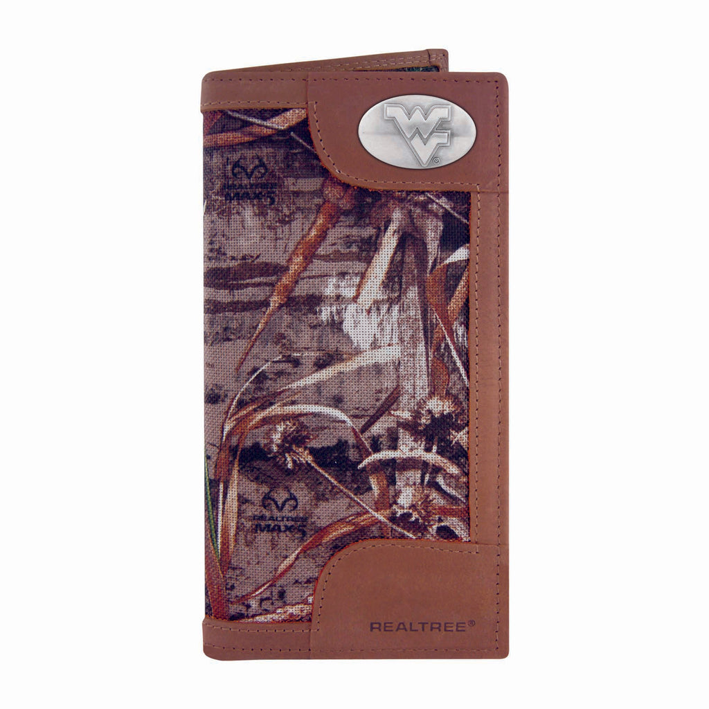 West Virginia Mountaineers Realtree Max-5 Camo & Leather Roper Wallet - NCAA