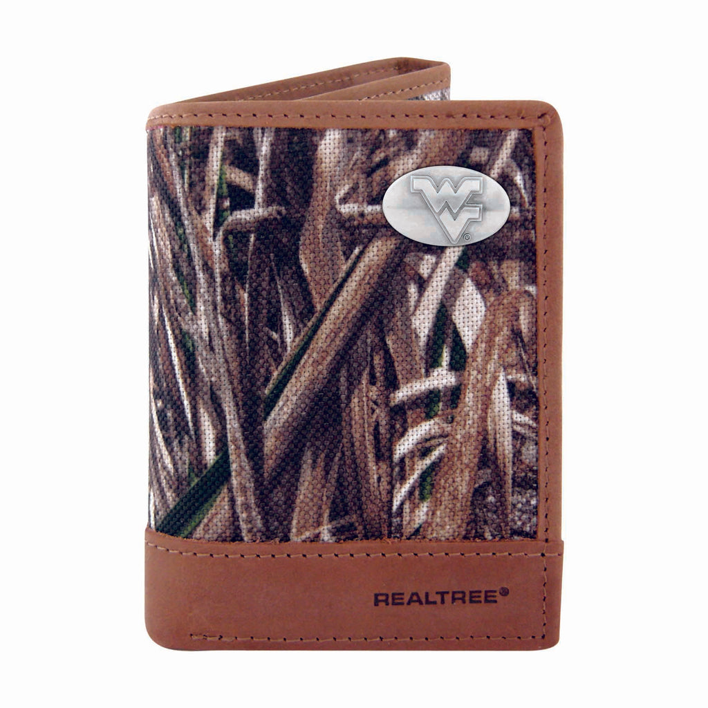 West Virginia Mountaineers Trifold Realtree Max-5 Camo & Leather Concho Wallet - NCAA