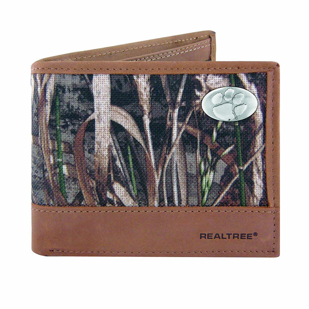 Clemson Tigers Bifold Realtree Max-5 Camo & Leather Concho Wallet - NCAA