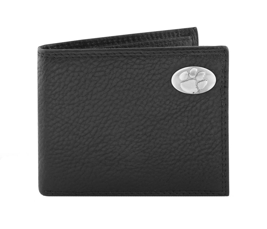 Clemson Tigers Pebble Grain Leather Bifold Concho Wallet - NCAA