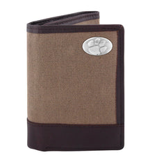 Clemson Tigers Waxed Canvas Trifold Concho Wallet - NCAA