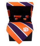 Clemson Tigers Tie, Pocket Square & Cufflinks Box Set