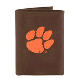 Clemson Tigers Crazy Horse Leather Embroidered Trifold Wallet - NCAA
