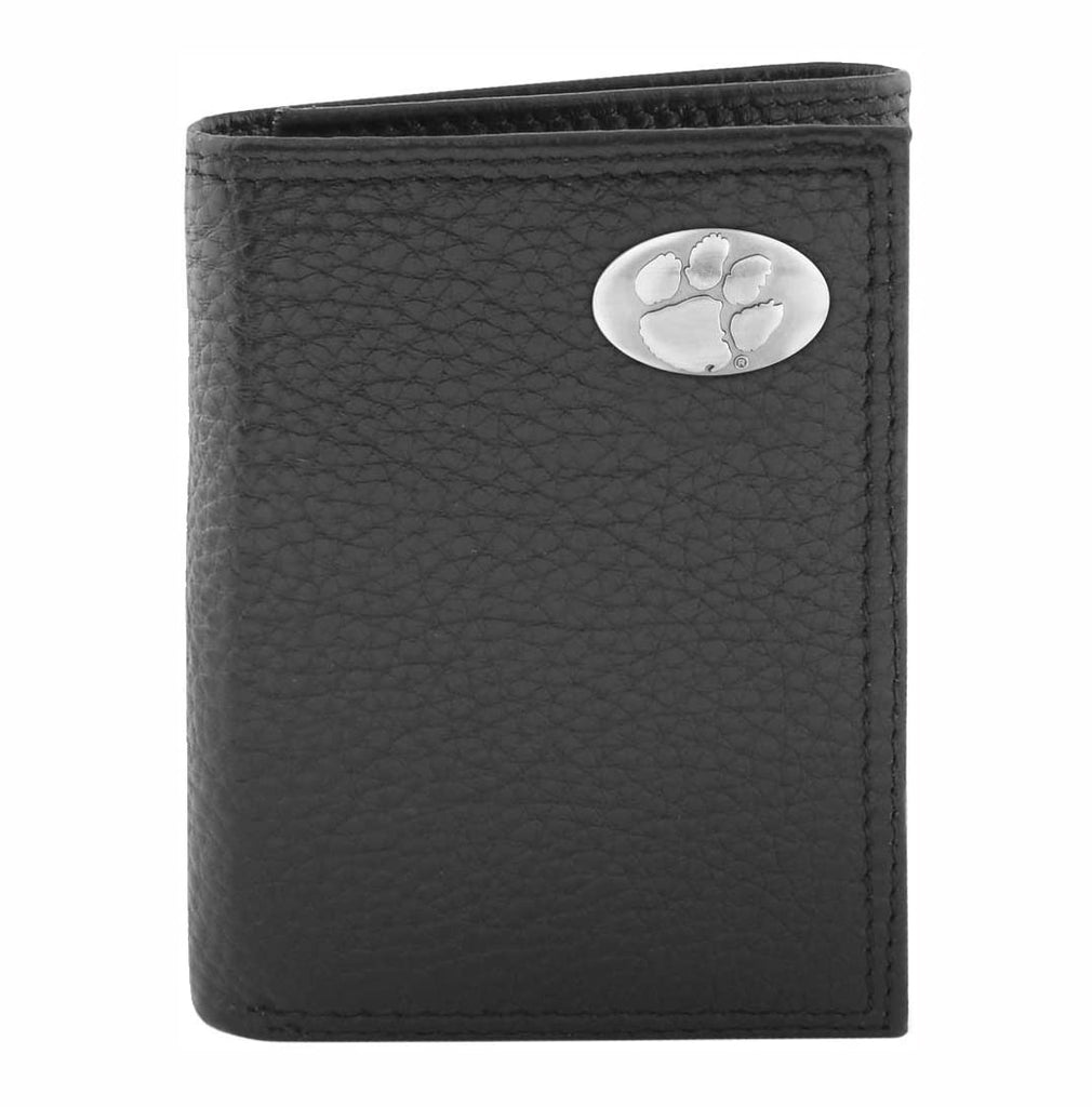 Clemson Tigers Pebble Grain Leather Trifold Concho Wallet - NCAA
