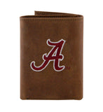Alabama Crimson Tide Embroidered Crazy Horse Leather Trifold Wallet - NCAA