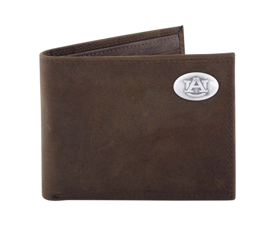 Auburn Tigers Crazy Horse Leather Bifold Concho Wallet - NCAA