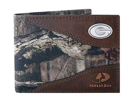 Georgia Bulldogs Zep-Pro Mossy Oak Nylon and Leather Bifold Concho Wallet - NCAA