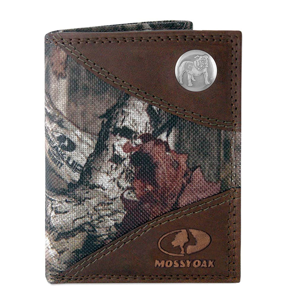 Georgia Bulldogs Mossy Oak Nylon and Leather Trifold Concho Wallet - NCAA