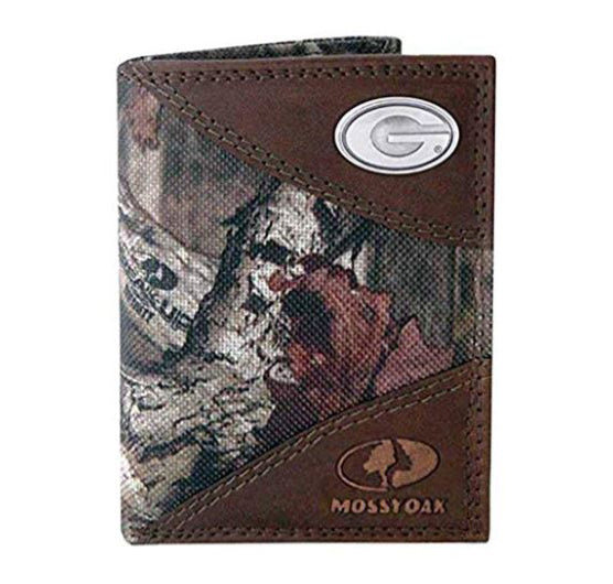 Georgia Bulldogs Zep-Pro Mossy Oak Nylon and Leather Trifold Concho Wallet - NCAA