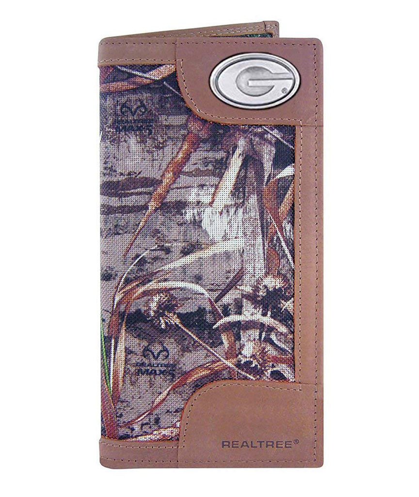 Georgia Bulldogs Realtree Max-5 Camo & Leather Roper Wallet - NCAA