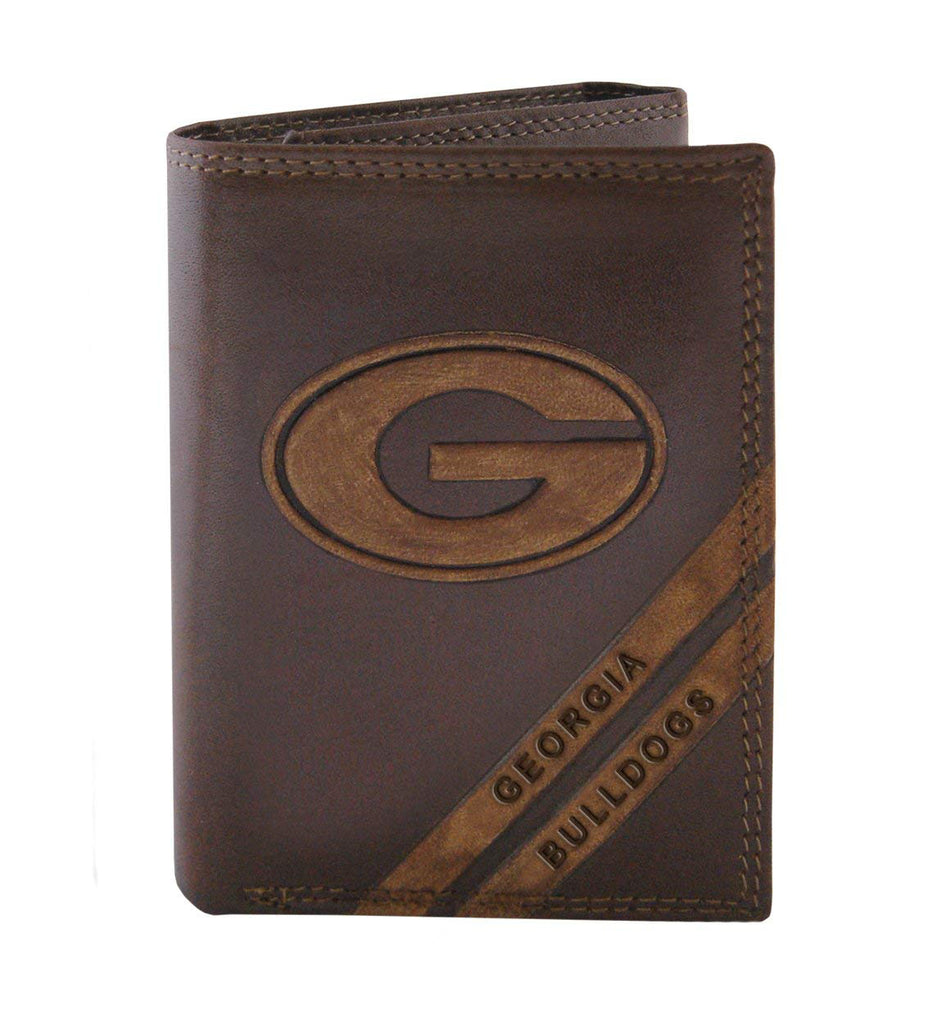 Georgia Bulldogs Zep-Pro Pull-Up Leather Trifold Embossed Wallet - NCAA
