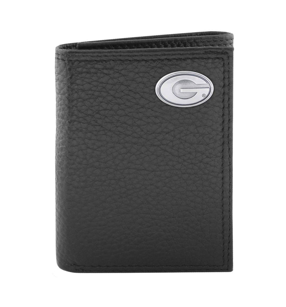 Georgia Bulldogs Pebble Grain Leather Trifold Concho Wallet - NCAA