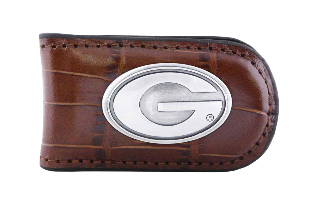 Georgia Bulldogs Crocodile Leather Magnet Concho Money Clip  - NCAA
