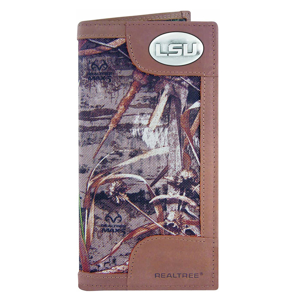 LSU Tigers Realtree Max-5 Camo & Leather Roper Wallet w/ Concho - NCAA