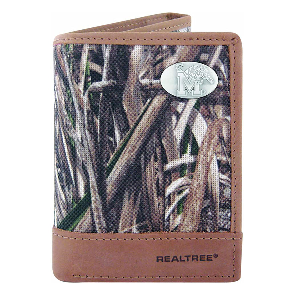 Memphis Tigers Trifold Realtree Max-5 Camo & Leather Concho Wallet - NCAA