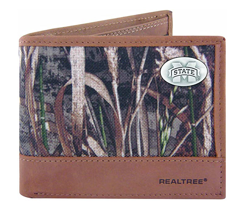 Mississippi State Bulldogs Realtree Max-5 Camo & Leather Bifold Concho Wallet - NCAA