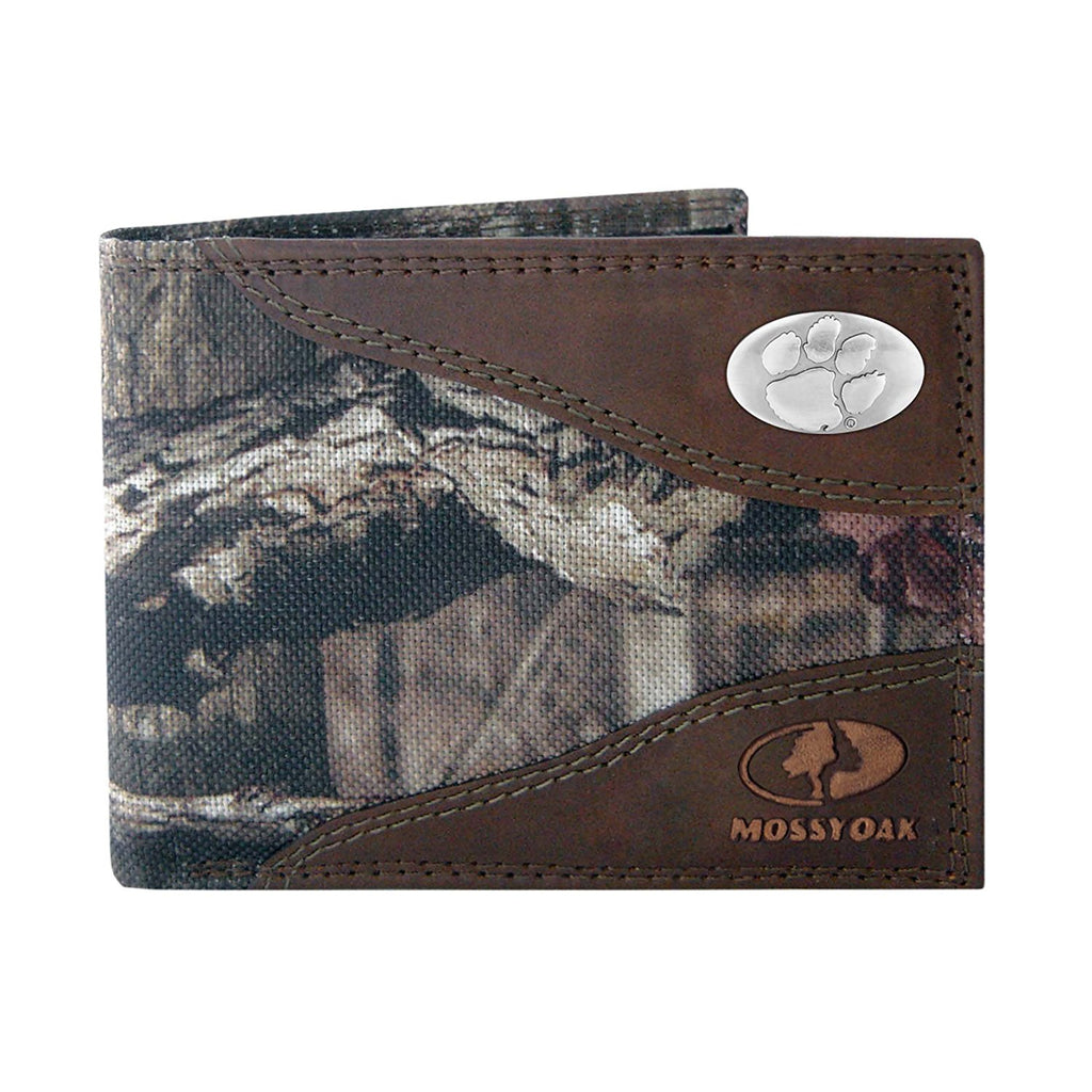 Clemson Tigers Mossy Oak Camo & Leather Bifold Wallet - NCAA