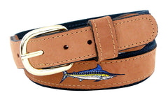 Zep-Pro Men's Embroidered Marlin Leather Belt - Navy