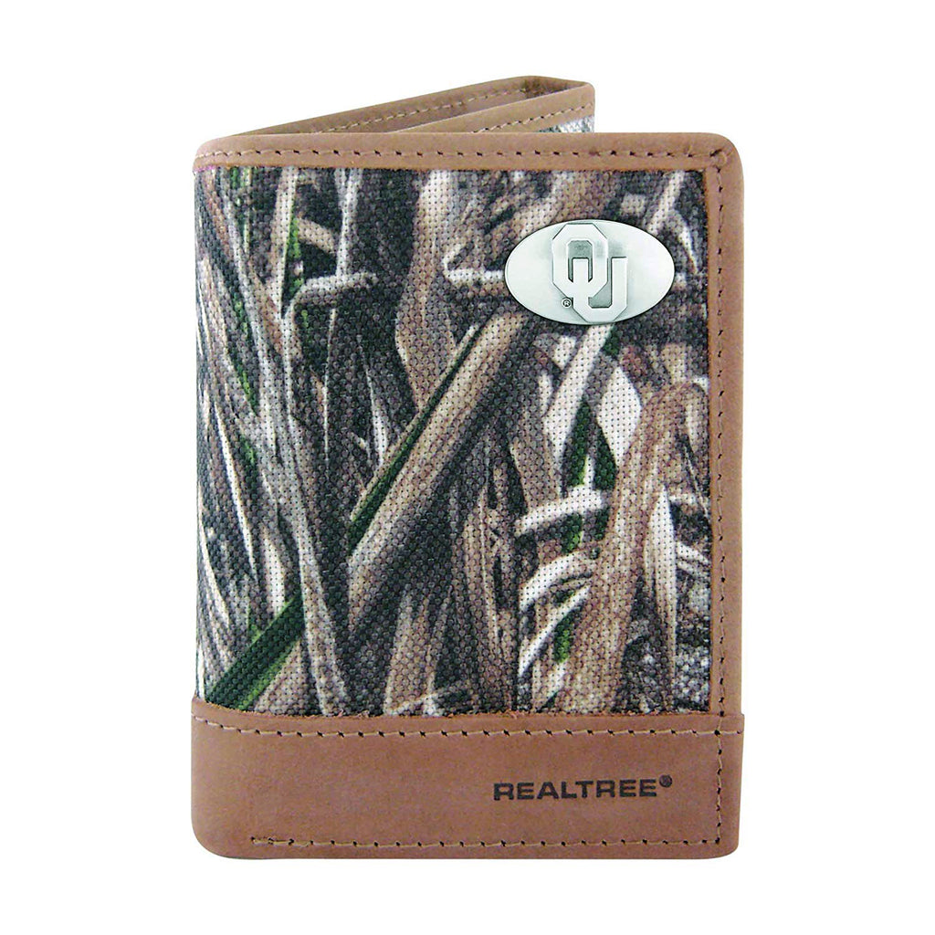 Oklahoma Sooners Trifold Realtree Max-5 Camo & Leather Wallet - NCAA