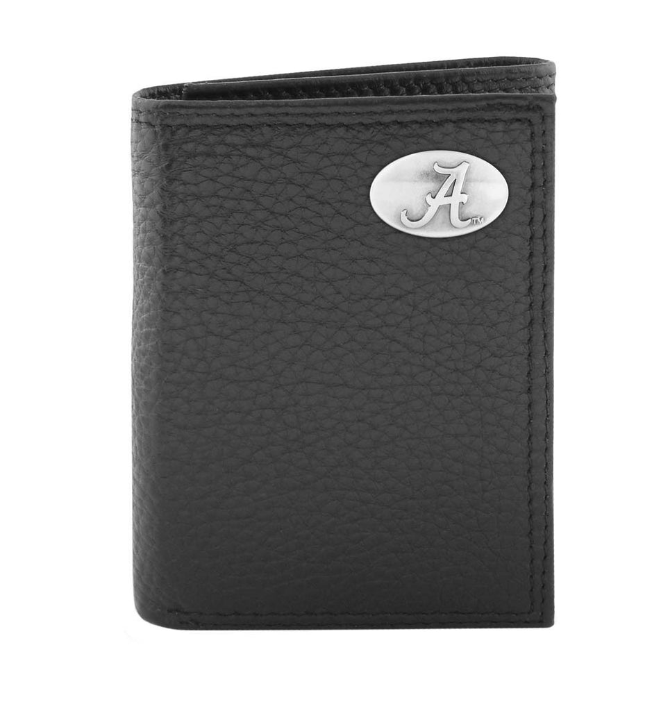 Alabama Crimson Tide Pebble Grain Leather Trifold Concho Wallet - NCAA