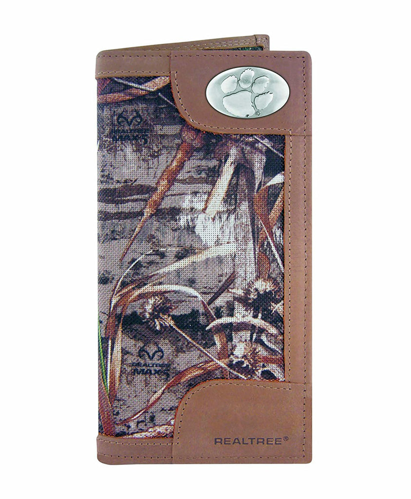 Clemson Tigers Realtree Max-5 Camo & Leather Roper Concho Wallet - NCAA