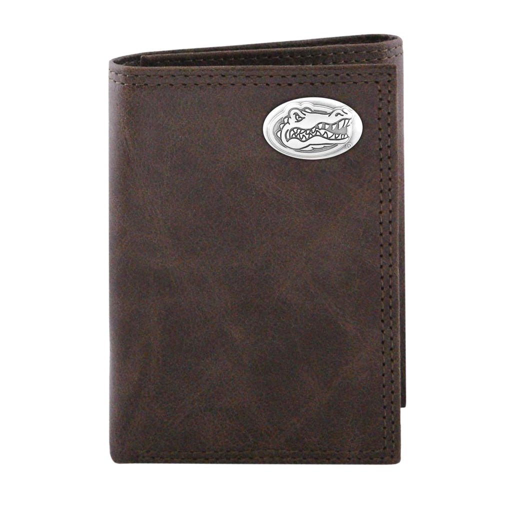 Florida Gators Wrinkle Leather Trifold Concho Wallet - NCAA