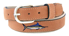 Zep-Pro Men's Embroidered Marlin Leather Belt - Tan