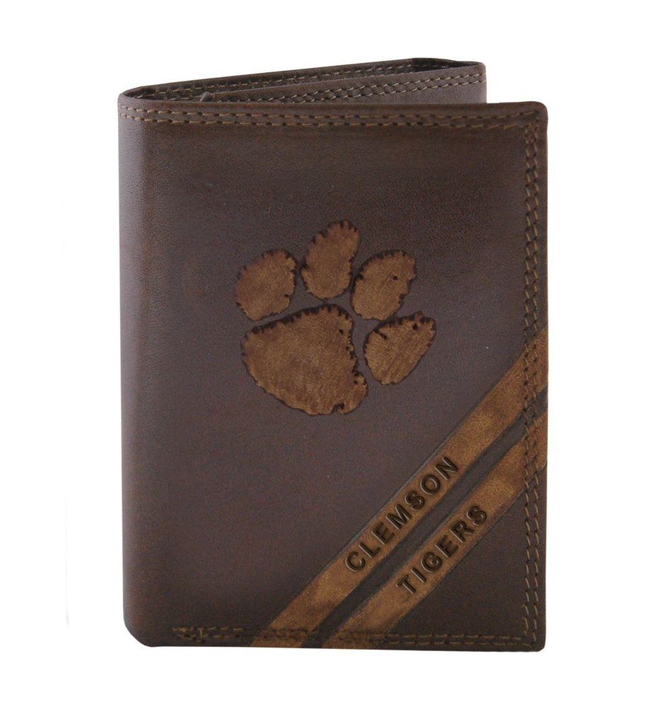 Clemson Tigers Debossed Leather Trifold Wallet - NCAA