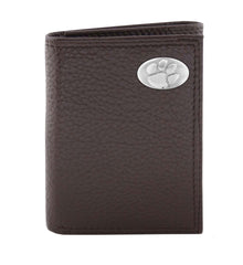 Clemson Tigers Pebble Grain Dark Brown Leather Trifold Concho Wallet - NCAA