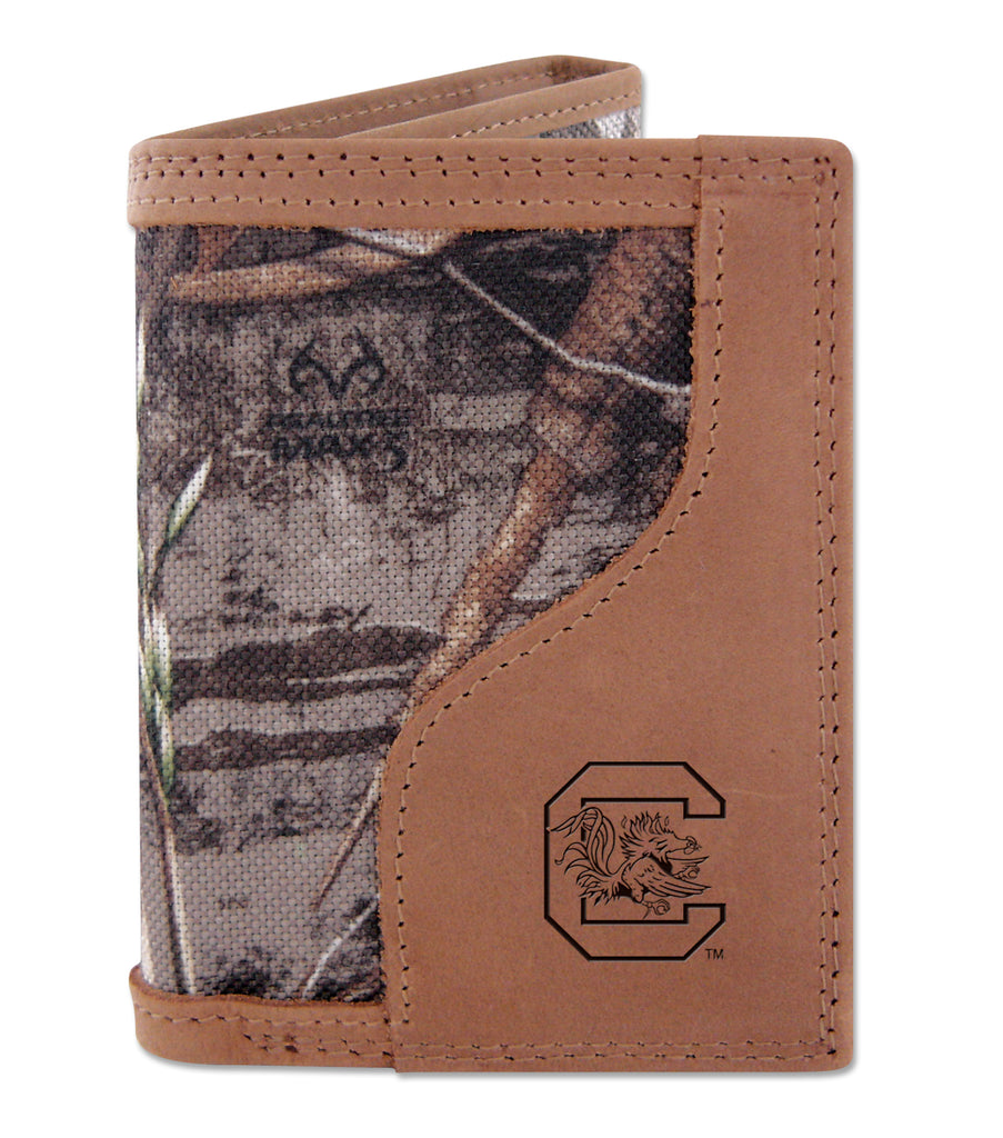 South Carolina Gamecocks Trifold Realtree Max-5 Camo & Leather Wallet - NCAA