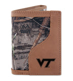 Virginia Tech Hokies Trifold Realtree Max-5 Camo & Leather Wallet - NCAA