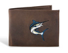 Zep-Pro Action Marlin Crazy Horse Embroidered Leather Bifold Wallet