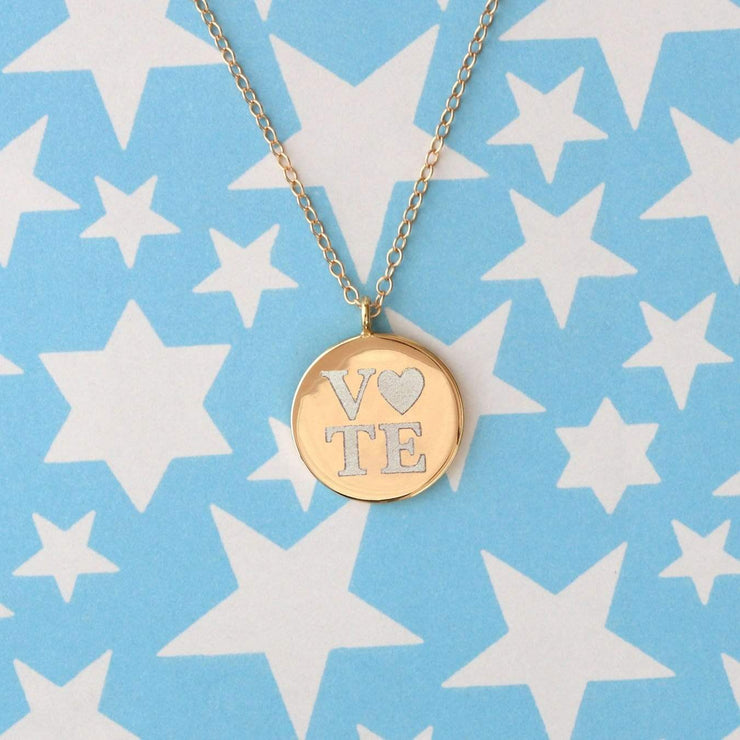 Gold Vote Heart Necklace