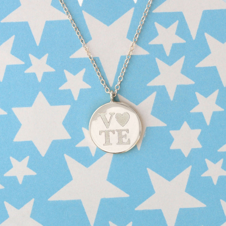 Silver Vote Heart Necklace