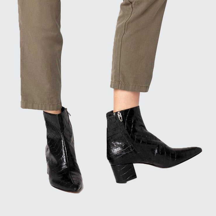 Bel Croco Leather Ankle Boot