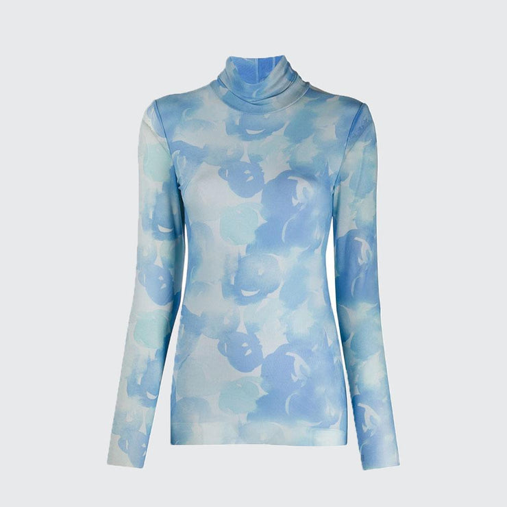 Printed Mesh Rollneck Top