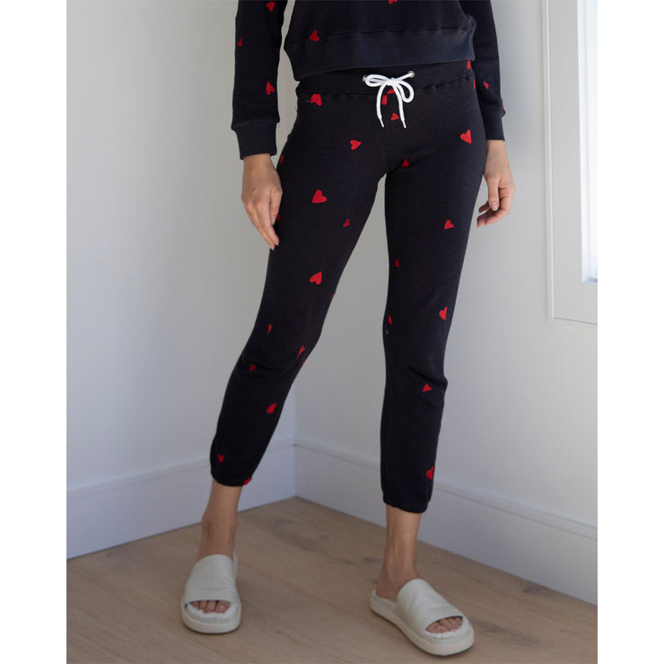 Embroidered Heart Sweatpants