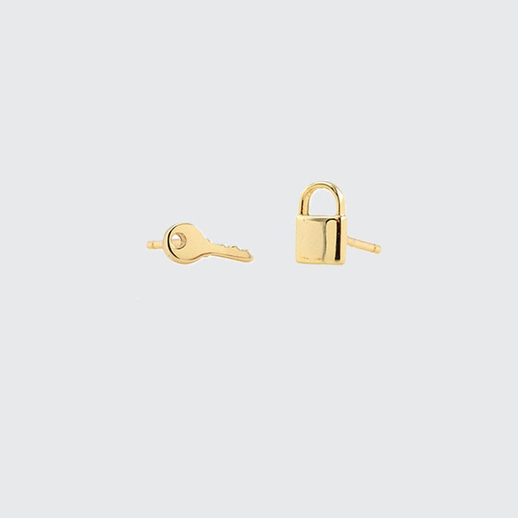 Lock & Key Stud Earrings