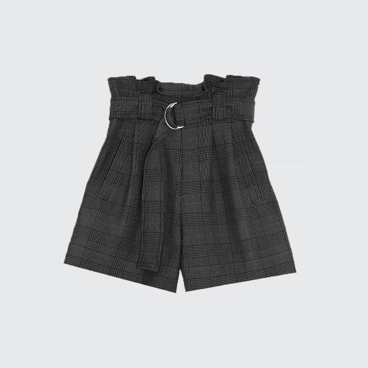 Plaid Paperbag Waist Shorts - by Ganni - Elisa B.